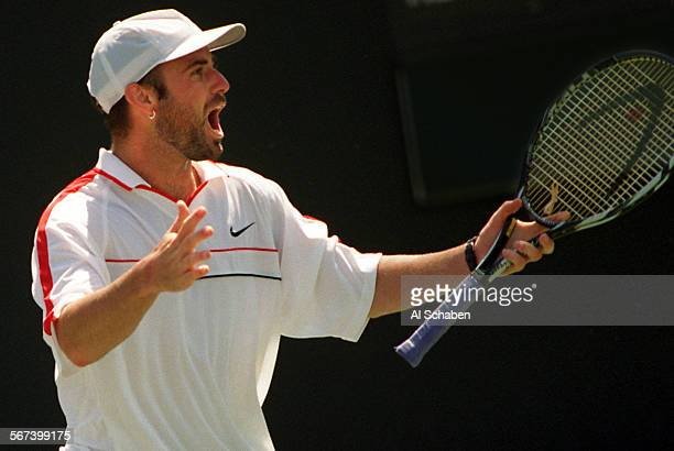 SPdaviscupagassi20406AS––NEWPORT BEACH––Andre Agassi reacts to his victory over Jan Siemerink Sunday as he gave the United States a 4–1 win over the...