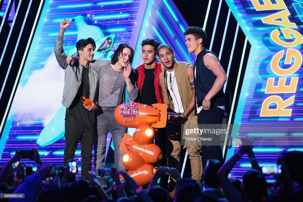 CNCO speak onstage during the Nickelodeon Kids' Choice Awards Mexico 2017 at Auditorio Nacional on August 19, 2017 in Mexico City, Mexico.