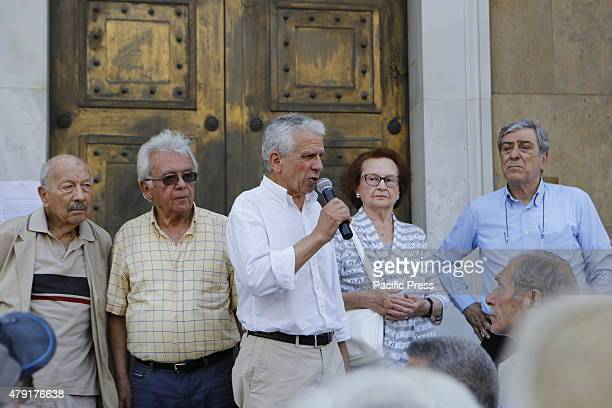 A speaker addresses the Greek pensioners outside the Greek Central Bank Greek Pensioners marched from the Ministry of Finance to the Greek Central...