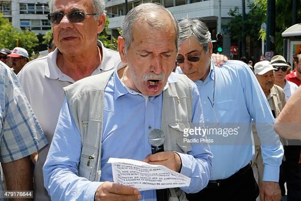 A speaker addresses the Greek pensioners outside the Greek Ministry of Finance Greek Pensioners marched from the Ministry of Finance to the Greek...