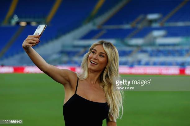 TV speaker Diletta Leotta poses for a selfie prior to the Serie A match between SS Lazio and AC Milan at Stadio Olimpico on July 4 2020 in Rome Italy