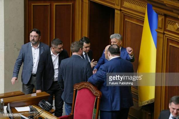 Speaker Dmytro Razumkov addresses Opposition Platform - For Life faction co-heads Yurii Boiko and Vadym Rabinovych during a plenary sitting of the...