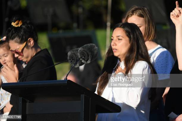 A speaker during the Wellington Vigil held at the Basin Reserve on March 17 Wellington New Zealand 50 people are confirmed dead with 36 injured still...