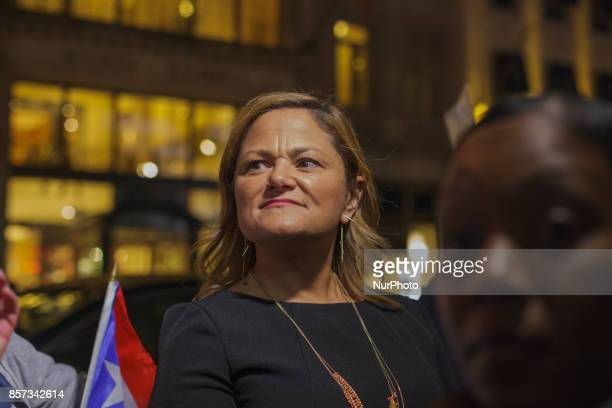 Speaker for the City Council of New York Melissa MarkViverito attempting to take over the rally in which she only received ire from protesters rally...