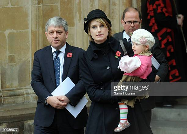 Speaker for the House of Commons John Bercow and his family including daughter Jemima attend an Armistice Day service at Westminster Abbey on...