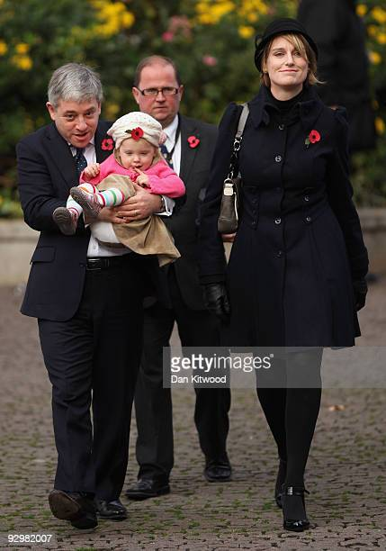 Speaker for the House of Commons John Bercow partner Sally Illman and daughter Jemima attend the Armistice Day service at Westminster Abbey on...