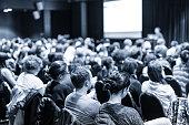 Speaker giving presentation on scientific business conference.