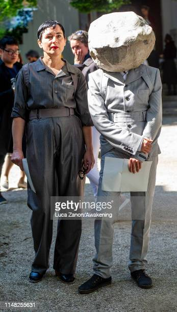 Speaker HeleneDuldung and artist Natascha Süder Happelmann to the German Pavillion pose at Giardini during the press previews of the 58th...