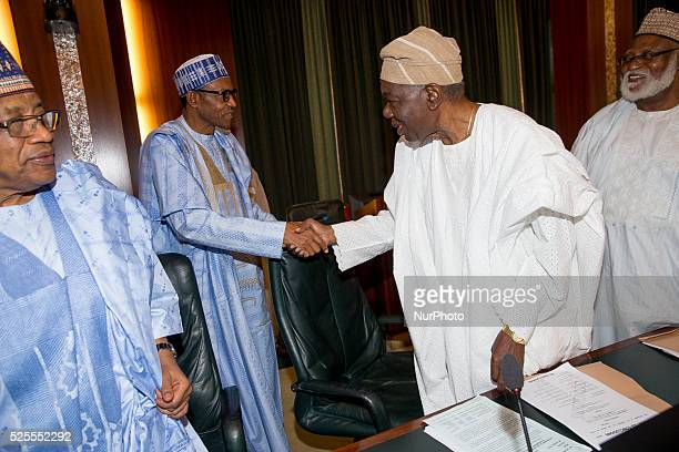 Speaker House of Rep. Hon. Yakubu Dogara, President Muhammadu Buhari and Gen. Yakubu Gowon in a chat g ahead of the Council of State Meeting in Abuja...