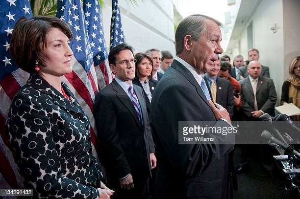 Speaker John Boehner ROhio speaks at a news conference after a meeting of the House Republican Conference in the Capitol Extension of the payroll tax...