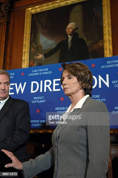 Speaker Nancy Pelosi, D-Calif., attends a news conference on Democratic initiatives that will be sent to the President to sign, including an increase...