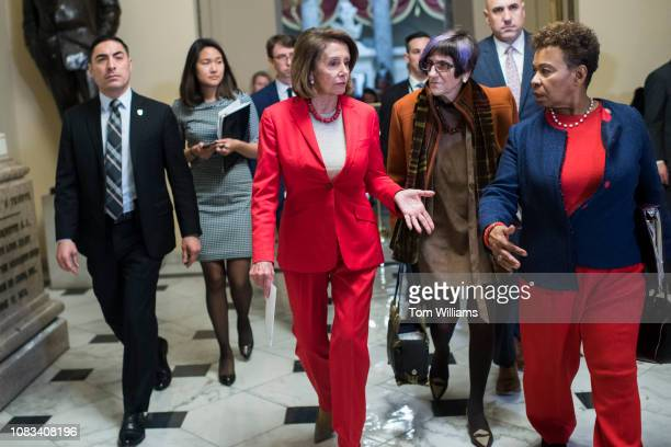 Speaker Nancy Pelosi DCalif center Reps Barbara Lee DCalif right and Rosa DeLauro DConn are seen in the Capitol on Wednesday January 16 2019