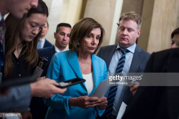 Speaker Nancy Pelosi DCalif makes her way to an event with House and Senate Democrats in the Capitol before a House vote on the Securing America's...