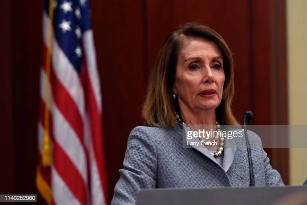 Speaker Nancy Pelosi speaks at the screening of TransMilitary on Capitol Hill at the US Capitol Visitor Center at US Capitol Visitor Center on April...