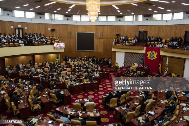 Speaker of Ghana's Parliament Mike Aaron Oquaye welcomes US Speaker of the House Nancy Pelosi at the Ghana's parliament in Accra on July 31 2019 for...