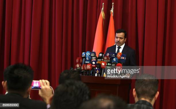 Speaker of Iraqi Kurdish Regional Government parliament Yusuf Mohammed speaks during a press conference in Sulaymaniyah Iraq on December 26 2017...
