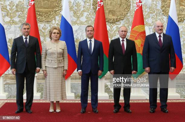 Speaker of Russia's State Duma lower parliament Vyacheslav Volodin Russian Federation Council Speaker Valentina Matviyenko Russian Prime Minister...
