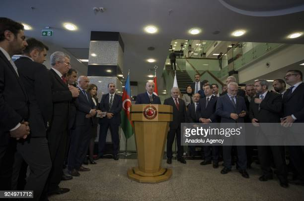 Speaker of the Grand National Assembly of Turkey Ismail Kahraman delivers a speech during the opening ceremony of the photograph exhibition entitled...