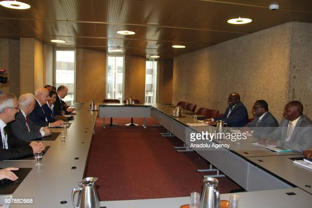Speaker of the Grand National Assembly of Turkey Ismail Kahraman meets with President of the National Assembly of Burundi Pascal Nyabenda in Geneva...