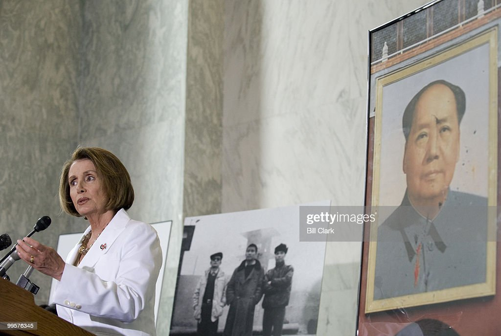 Speaker of the Hose Nancy Pelosi, D-Calif., speaks during an event in the Rayburn Foyer to commemorate the 20th anniversary of the Tiananmen Square crackdown on Thursday, June 4, 2009. Three participants in the uprising, who were sent to Chinese forced-labor prison camps, were reunited for the first time at the event to recount their experiences.