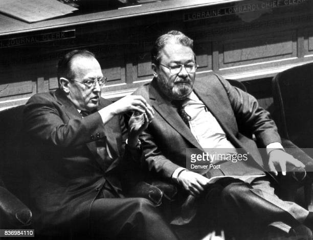 Speaker of the House Bev Bledsoe and Majority leader Ron Strahle on the floor of the House 1/11/83 Credit The Denver Post