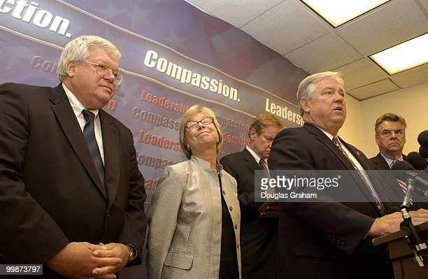 Speaker of the House Dennis Hastert Deborah Pryce Tom Davis Gov of Mississippi Haley Barbour and Peter King during a House Republican Conference...