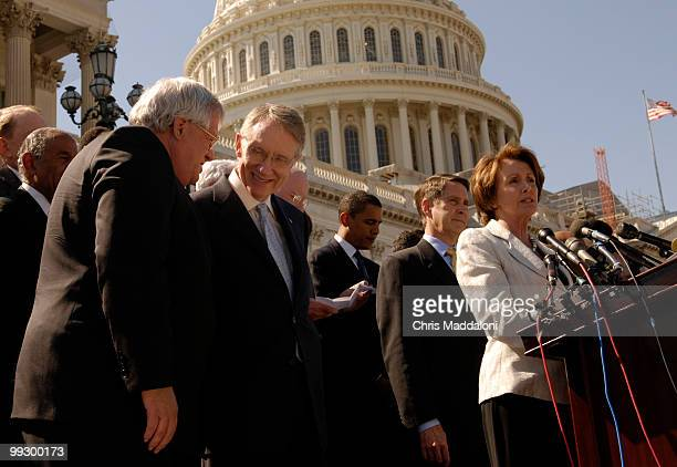 Speaker of the House Dennis Hastert RIll and Senate Minority Leader Harry Reid DNv speak at a press conference with members of both the House and the...