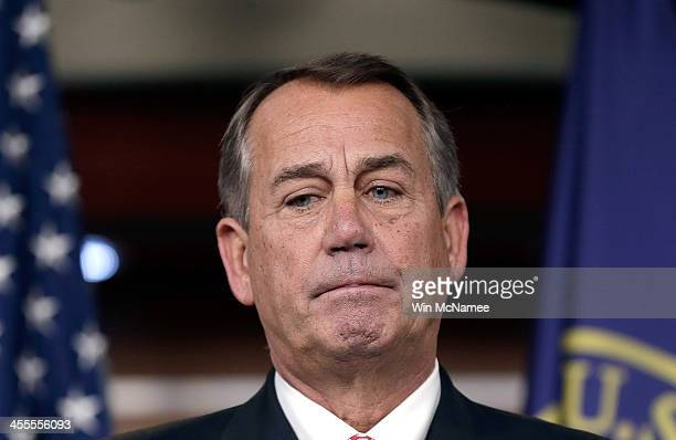 S Speaker of the House John Boehner answers questions during a press conference December 12 2013 in Washington DC When asked during the press...