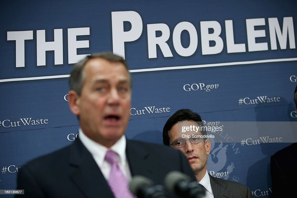 Speaker of the House John Boehner (R-OH) (L) answers reporters' questions after the weekly House Republican caucus meeting with Majority Leader Eric Cantor (R-VA) at the U.S. Capitol March 5, 2013 in Washington, DC. With the budget sequester now in effect, Boehner and his party in the House are now focusing on fighting against new taxes and rolling back the federal budget.