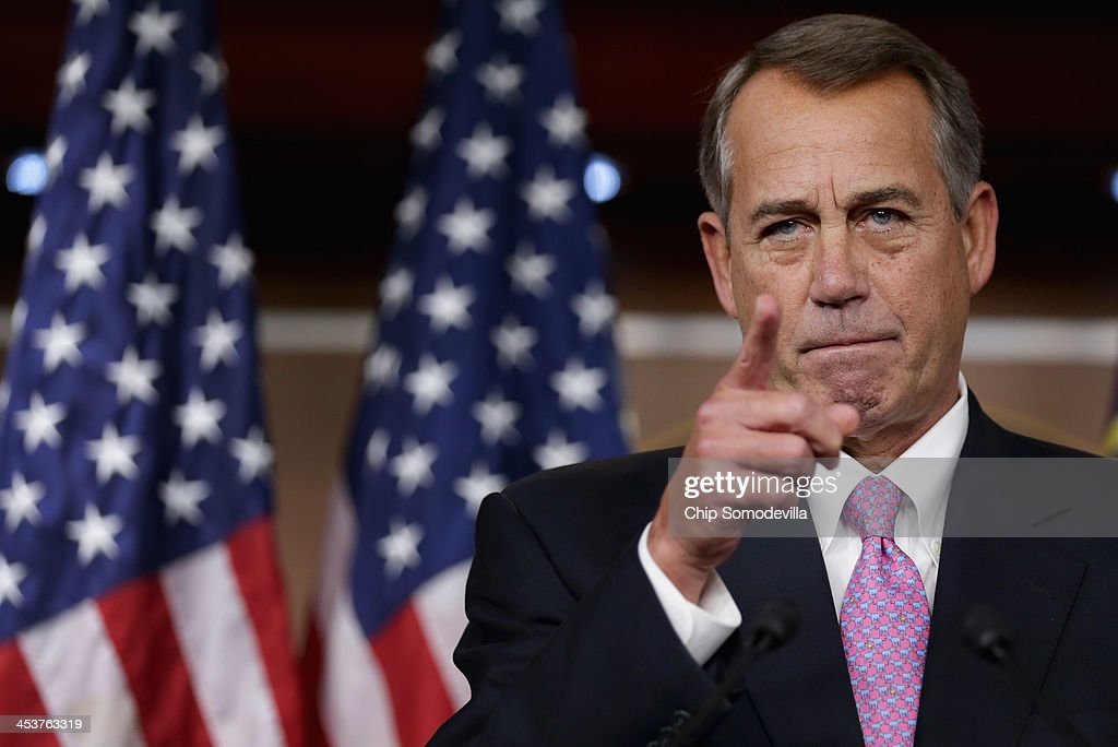 John Boehner Holds Weekly Briefing At The Capitol