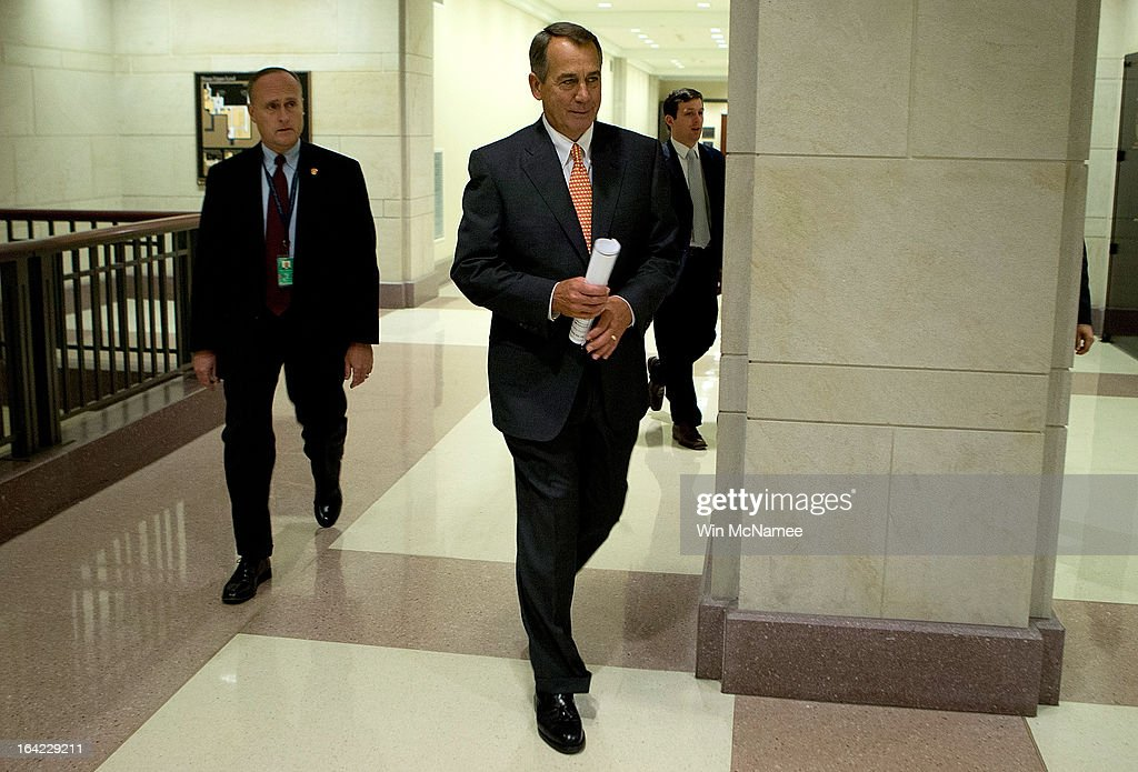 Speaker of the House John Boehner (R-OH) arrives for a press conference March 21, 2013 at the U.S. Capitol in Washington, DC. The House today passed legislation that will provide funding for the federal government through September and avoids the possibility of a partial federal shutdown.