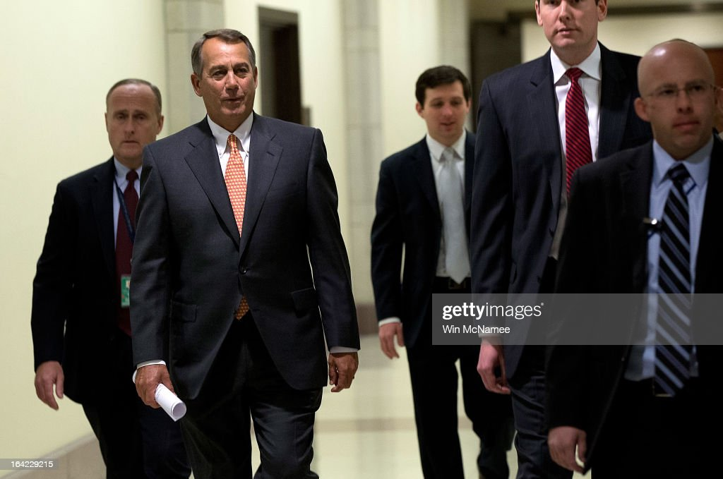 Speaker of the House John Boehner (R-OH) (2L) arrives for a press conference March 21, 2013 at the U.S. Capitol in Washington, DC. The House today passed legislation that will provide funding for the federal government through September and avoids the possibility of a partial federal shutdown.