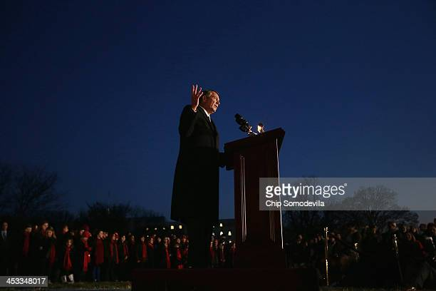 Speaker of the House John Boehner delivers remarks during the US Capitol Christmas Tree lighting ceremony on the West Front December 3 2013 in...