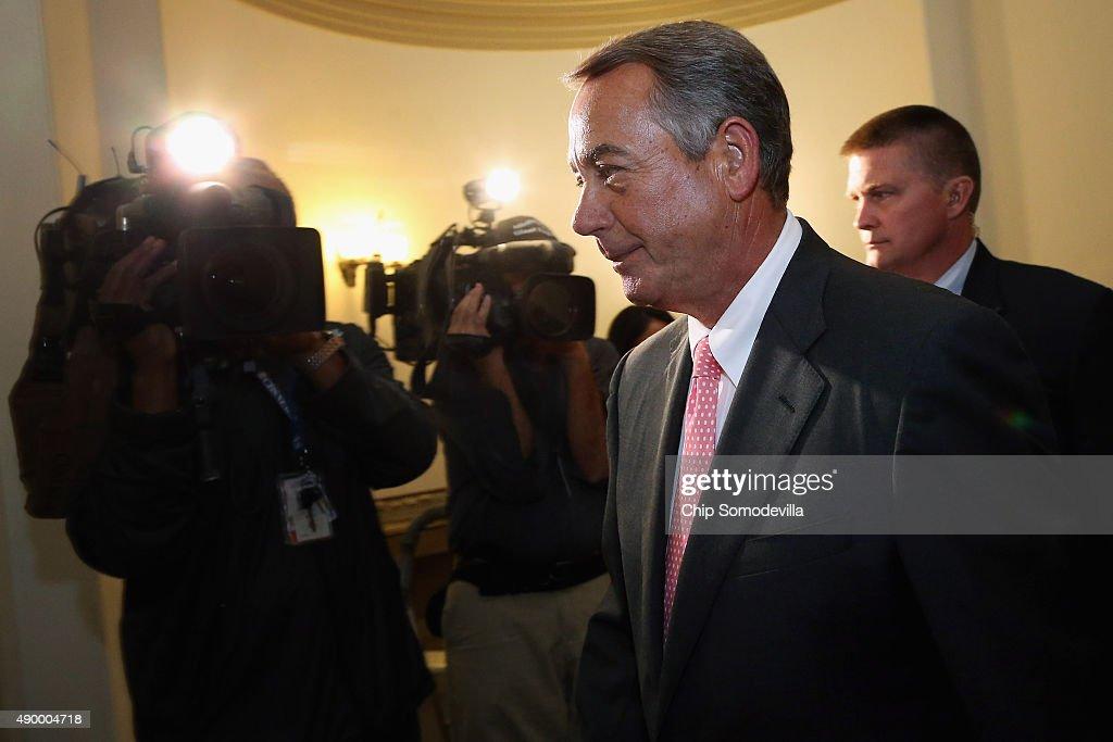 House Speaker John Boehner Announces His Resignation At The Capitol : News Photo