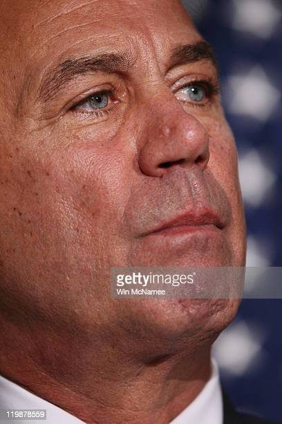 Speaker of the House John Boehner holds a news conference after a meeting at the Republican National Committee offices July 26 2011 in Washington DC...