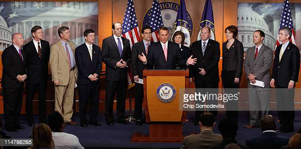 Speaker of the House John Boehner holds a news conference with fellow House Republicans to announce the party's progrowth job creation agenda at the...