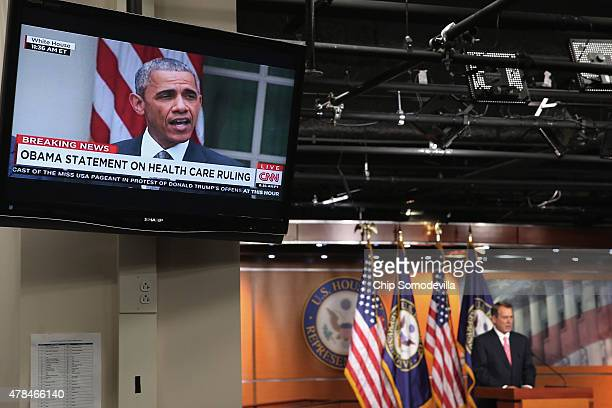 Speaker of the House John Boehner holds his weekly news conference at the same time President Barack Obama appears on television to make a statement...
