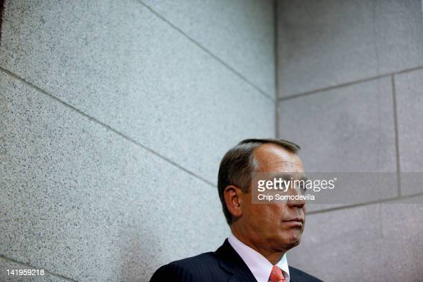 Speaker of the House John Boehner joins other members of the House GOP leadership for a brief news media availability after a Republican Conference...