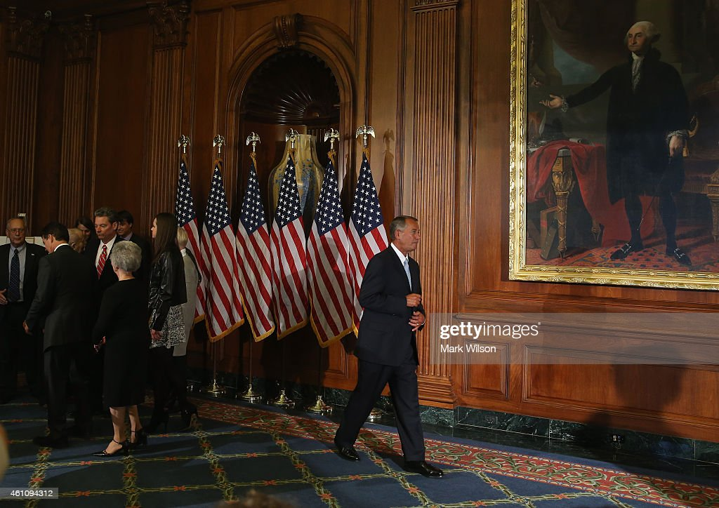 Speaker of the House John Boehner (R-OH) participates in ceremonial swearing ins at the US Capitol January 6, 2015 in Washington, DC. Today Congress convened its first session of the 114th Congress with Republicans controlling both the House and Senate.