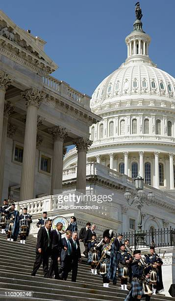 Speaker of the House John Boehner President Barack Obama Taoiseach of Ireland Enda Kenny and US Rep Peter King leave the US Capitol after a St...