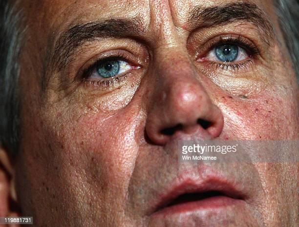 Speaker of the House John Boehner speaks during a press conference following a meeting at the Republican National Committee offices July 26 2011 in...