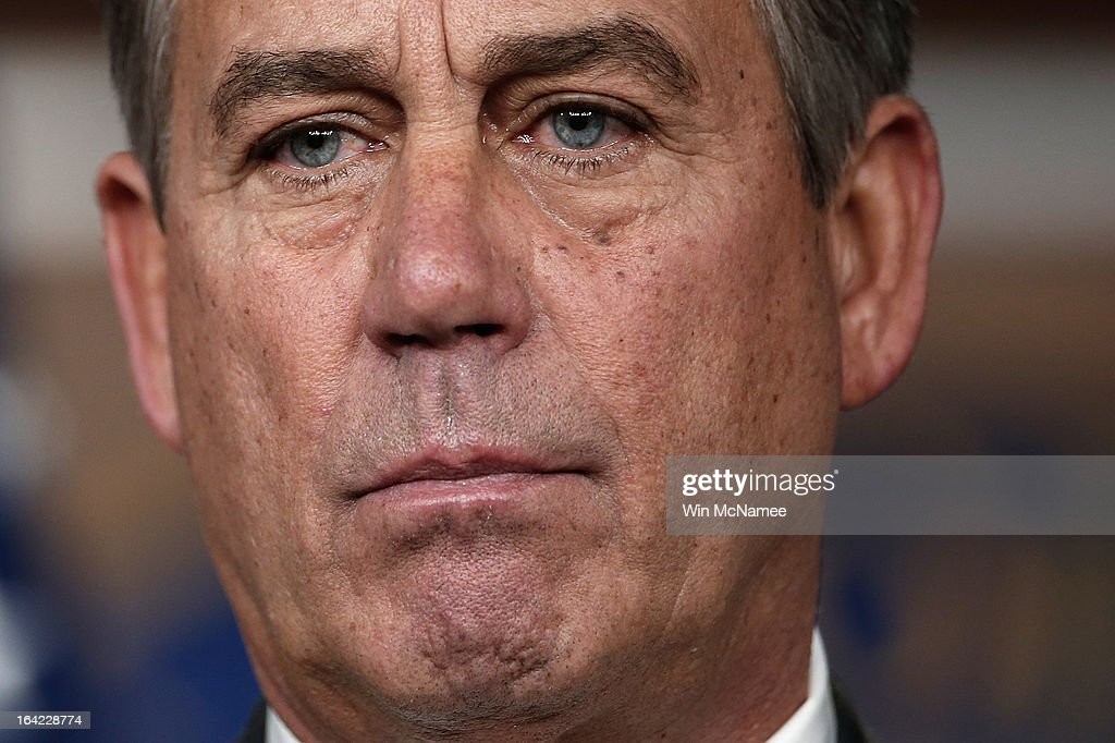 Speaker of the House John Boehner (R-OH) speaks during a press conference March 21, 2013 at the U.S. Capitol in Washington, DC. The House today passed legislation that will provide funding for the federal government through September and avoids the possibility of a partial federal shutdown.