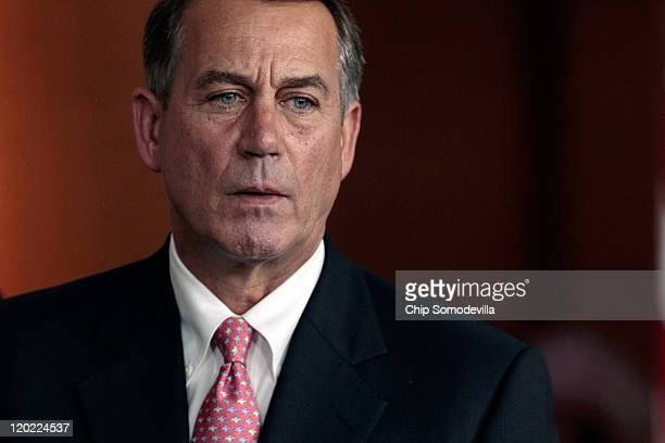Speaker of the House John Boehner speaks saying he has encouraged Republican members to support a bipartisan debt ceiling deal during a news...