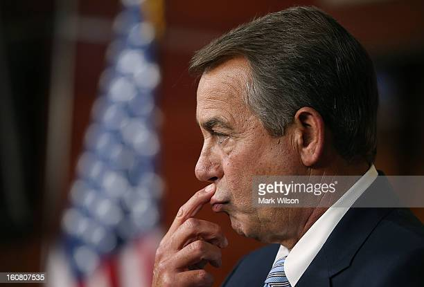 Speaker of the House John Boehner speaks to the media during his weekly news conference on Capitol Hill February 6 2013 in Washington DC Speaker...