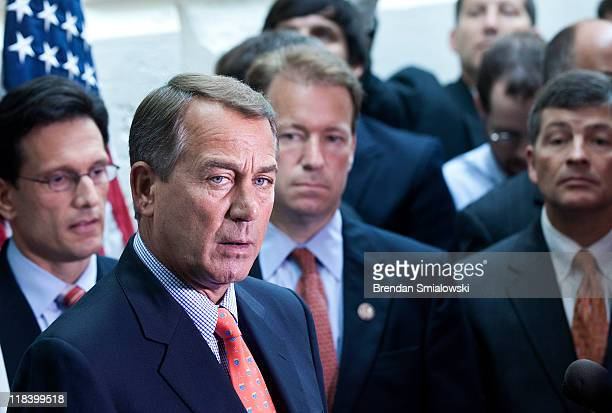Speaker of the House John Boehner speaks with reporters after a meeting with House Republicans on Capitol Hill July 7 2011 in Washington DC Speaker...