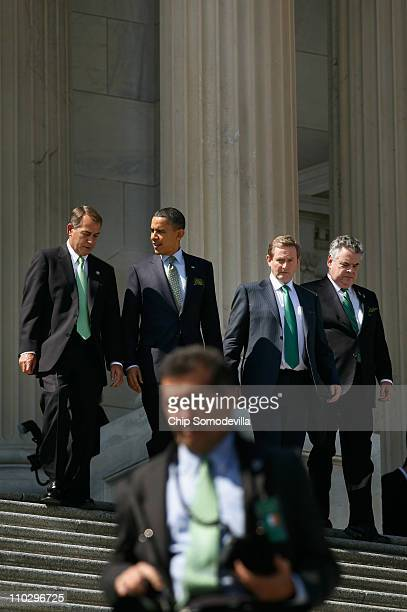 Speaker of the House John Boehner US President Barack Obama Taoiseach of Ireland Enda Kenny and US Rep Peter King leave the US Capitol after a St...