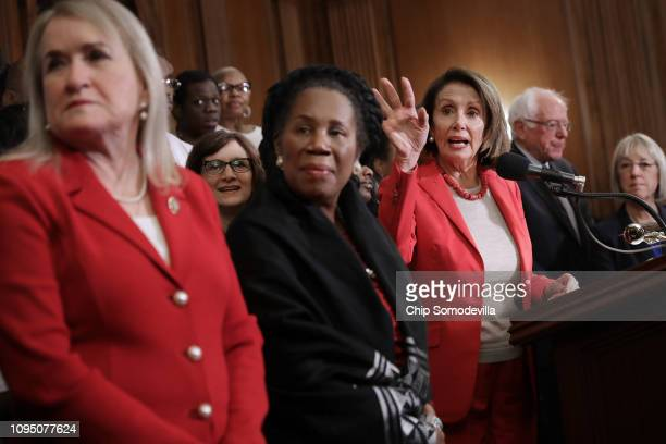 Speaker of the House Nancy Pelosi addresses an event to introduce the Raise The Wage Act with Rep Sylvia Garcia Rep Sheila Jackson Lee Sen Bernie...