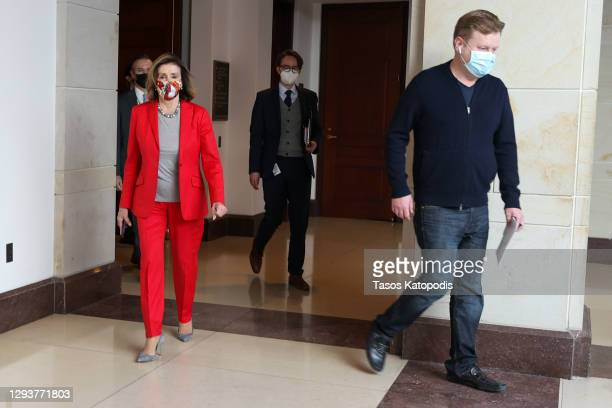 Speaker of the House Nancy Pelosi after she spoke at her weekly news conference on Capitol Hill on December 30, 2020 in Washington, DC. Speaker...