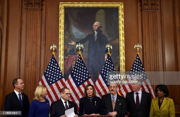 US Speaker of the House Nancy Pelosi and House Judiciary Chairman Jerry Nadler hold a press conference after the House passed Resolution 755 Articles...