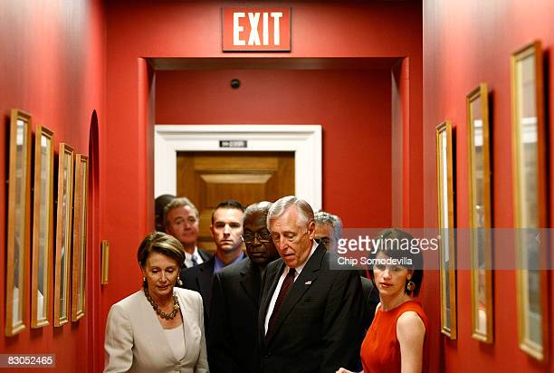 Speaker of the House Nancy Pelosi and House Majority Leader Steny Hoyer head for a news conference on Capitol Hill September 29 2008 in Washington DC...